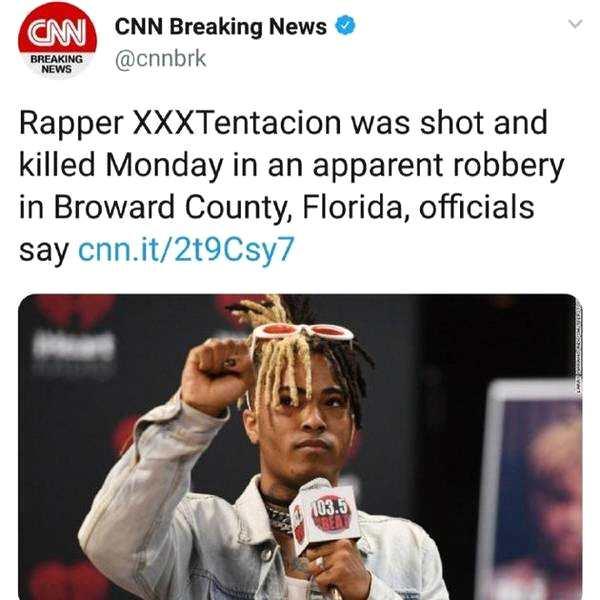 资讯生活美国说唱歌手XXXTentacion 在迈阿密被枪杀 年仅20岁